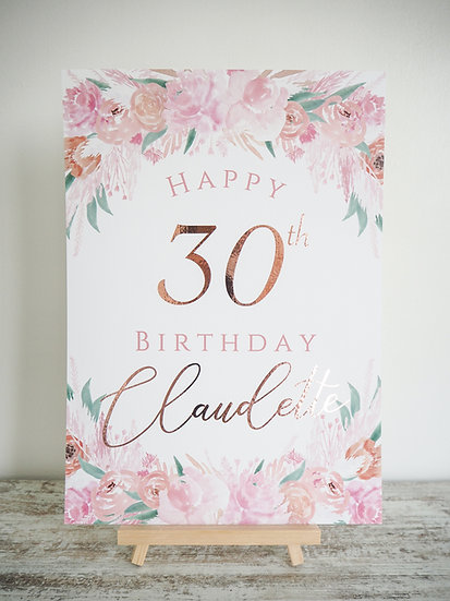 Pink Punch Floral Occasion Sign A4 or A3