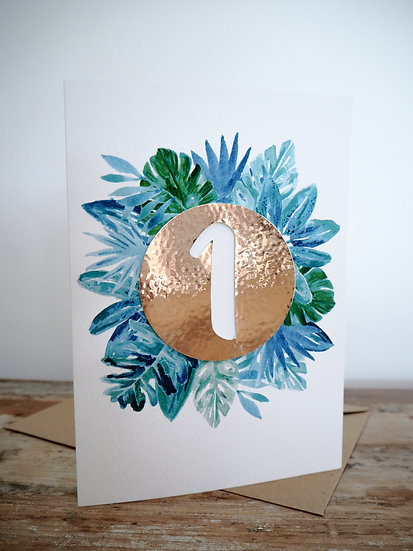 Tropical foil personalised card A5 or A6