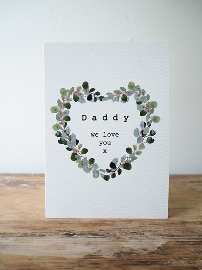 '..We love you' Personalised Eucalyptus heart card A6