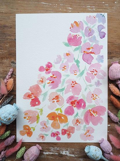 Falling Petals Print A4 or A3