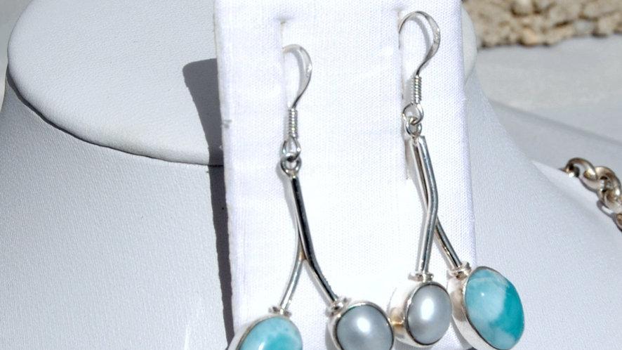 Ohrhänger Larimar mit Perle