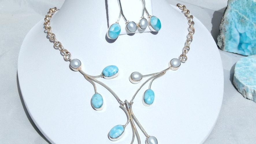 Collier Larimar mit Perle
