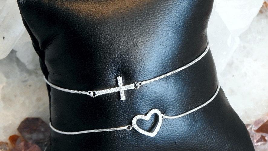 Armband Herz, Kreuz