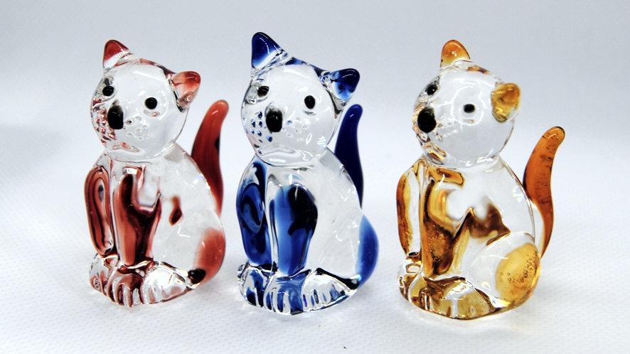 Katze aus Glas, mundgeblasen