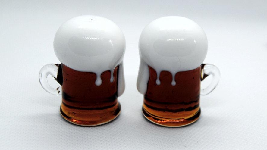 Bierkrügerl aus Glas, mundgeblasen