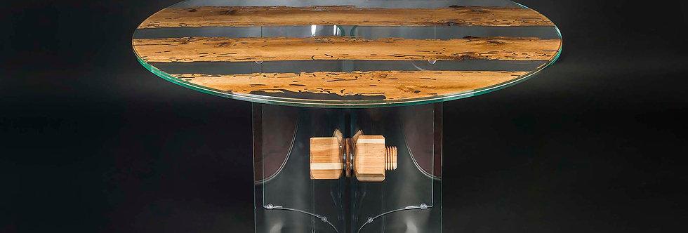 【イタリア製】Glass in Wood ラウンドダイニングテーブル
