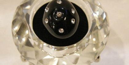 完全ハンドメイド☆ベネチアンガラスのリング ブラック&ラインストーンMサイズ