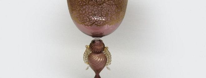 ベネチアガラス/ワイングラス/ゴールド・パープル 1695C