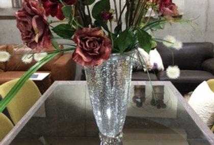 【flower bace/フラワーベース/花瓶】【モザイクガラス】シルバー/銀