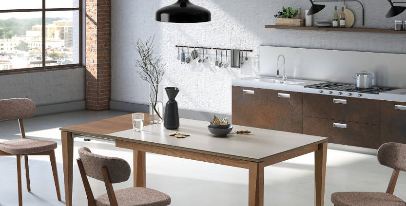 イタリア製 セラミックダイニングテーブル 伸長式