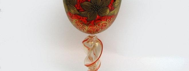 ベネチアガラス/ワイングラス/レッド・赤 1665B