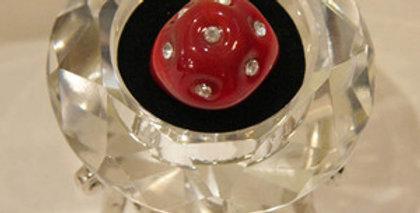 完全ハンドメイド☆ベネチアンガラスのリング レッド&ラインストーン Lサイズ