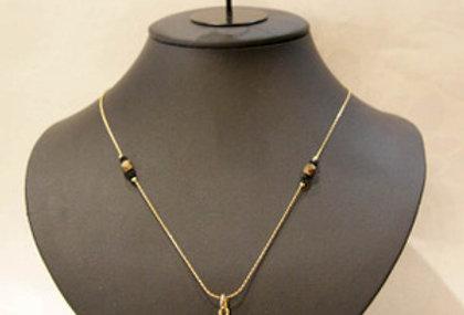 完全ハンドメイド☆ベネチアンガラスのネックレス&ピアスのセット ブラック&ゴールド