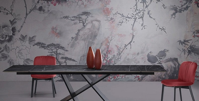 イタリア製 セラミックダイニングテーブル伸長式 W200 →247→294cmの複製