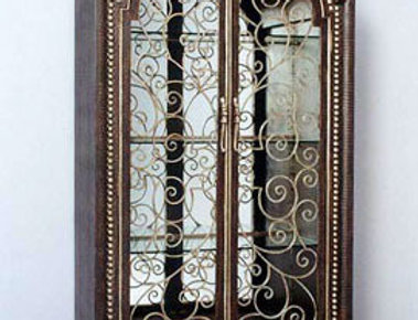 【在庫処分SALE】Cabinet NO.1747輸入家具【ブラウン×ゴールド】