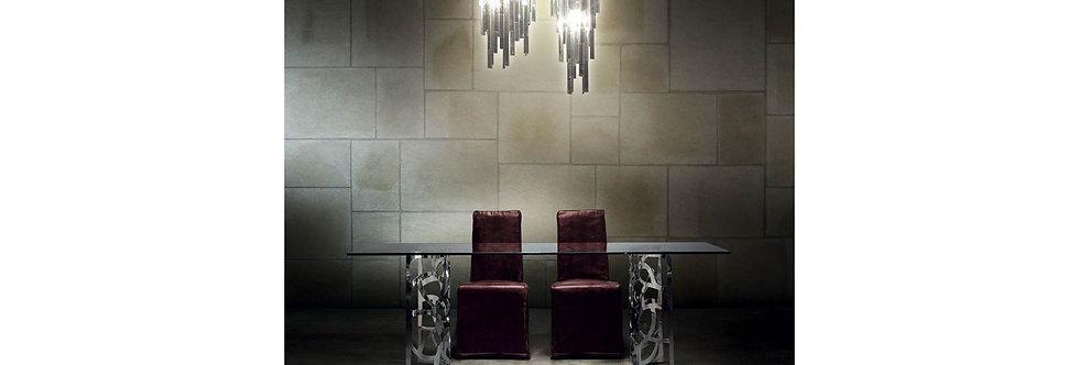 【イタリア製】Glass & Steel スクエアダイニングテーブル