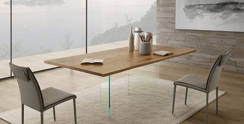イタリア製 無垢天板 ダイニングテーブル LI 伸長式