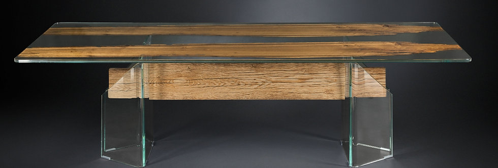 【イタリア製】Glass in Wood ダイニングテーブル
