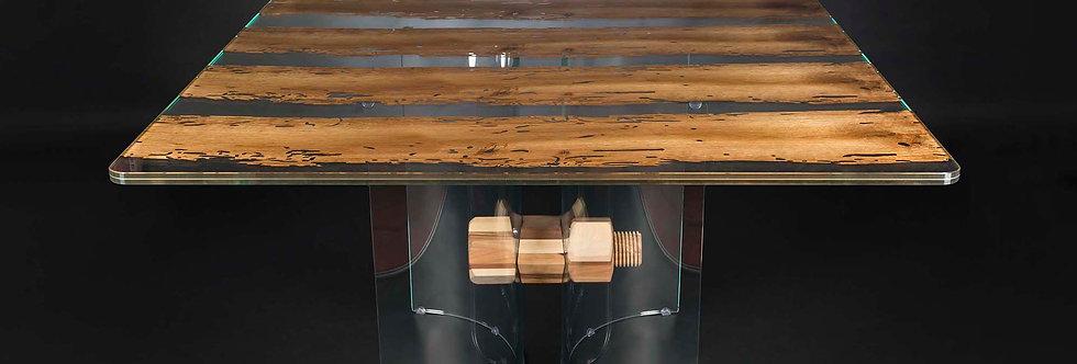 【イタリア製】Glass in Wood スクエアダイニングテーブル