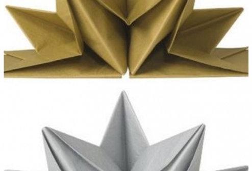 Now Designsの「ORIGAMI NAPKINS」 ゴールド、シルバー