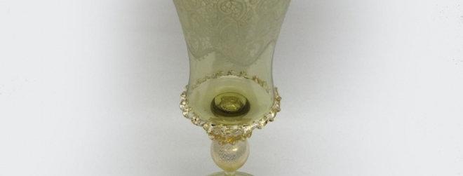 ベネチアガラス/ワイングラス/ゴールド・クリア 1695D