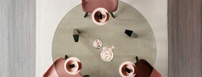 【イタリア製】ガラス天板ダイニングテーブル 円形