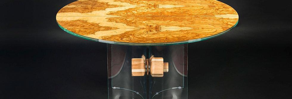 【イタリア製】Glass in Wood ラウンドダイニングテーブル Liguria