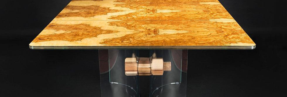 【イタリア製】Glass in Wood スクエアダイニングテーブル Liguria