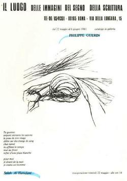 Affiche de l'exposition de Philippe Guerin 1981 en Italie