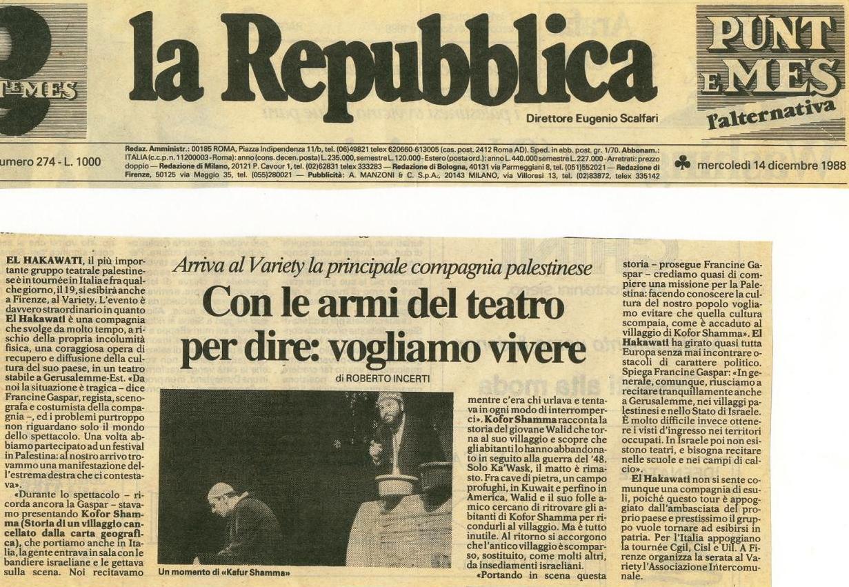 Article dans La Repubblica sur Kofor Shamma, Italie