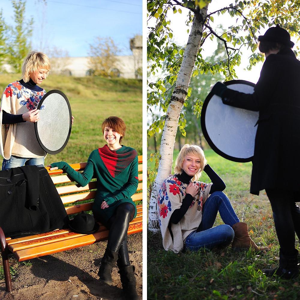 осенняя фотосессия в парке 50-летия в москве с отражателем