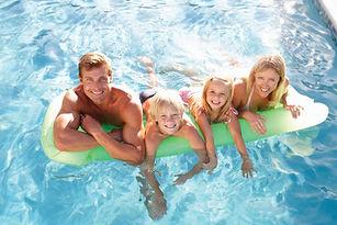 Happy Family Swimming