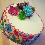 Colorful latin succulents cake
