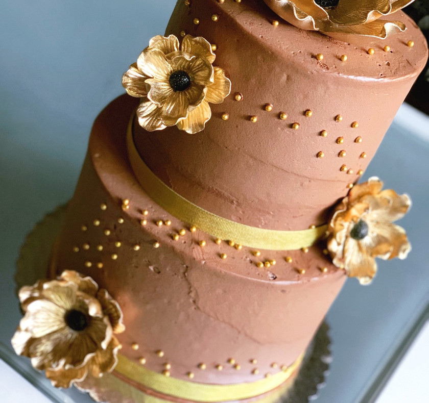 Two tiered chocolate and gold