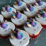Pink, purple, and teal Unicorn cupcakes