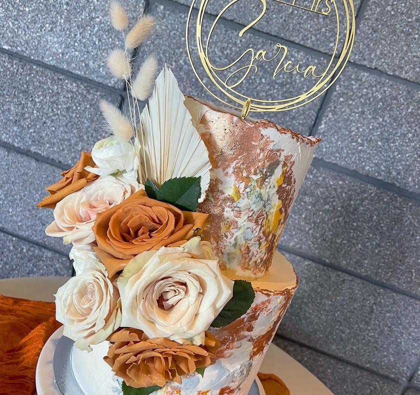 Tiered Bronze Art Style Cake