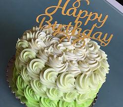 Green Ombre rosette cake