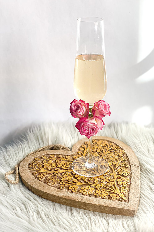 Floral Embellished Champagne Flutes