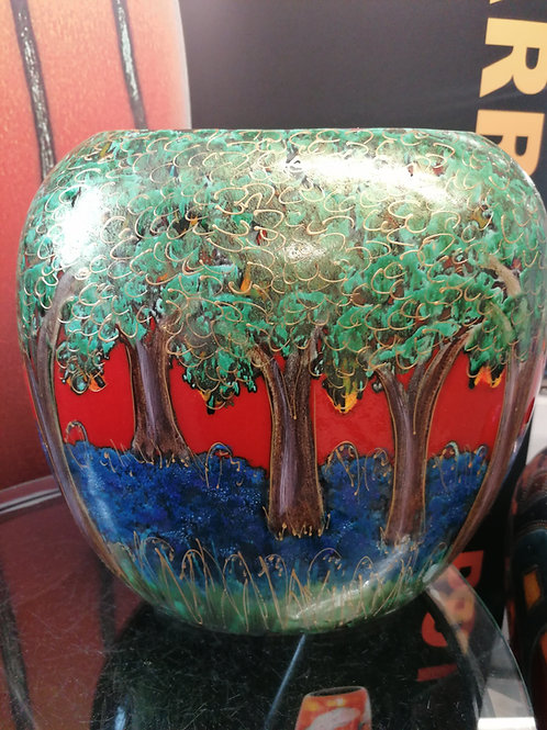 BLuebell Wood handpainted favourite on a very large purse vase measuring 28x28cm