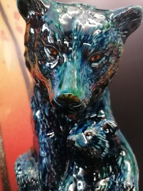 Bear with cub stunning new glaze blue mountain - handpainted