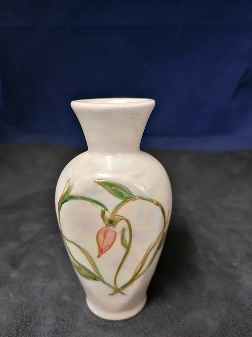 12cm made to order lustre bud vase handpainted with a rose bud and heart
