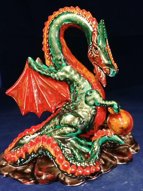 23cm dragon handpainted using  glaze lustres enamel