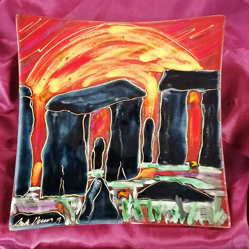 24cm Square wall plaque Stonehenge handpainted to order allow 21 days