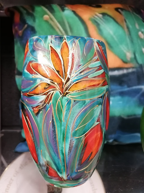 In stock 16cm hand painted Nirvana vase with gold detail
