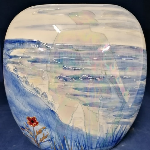 Handpainted 19cm purse vase D Day 75