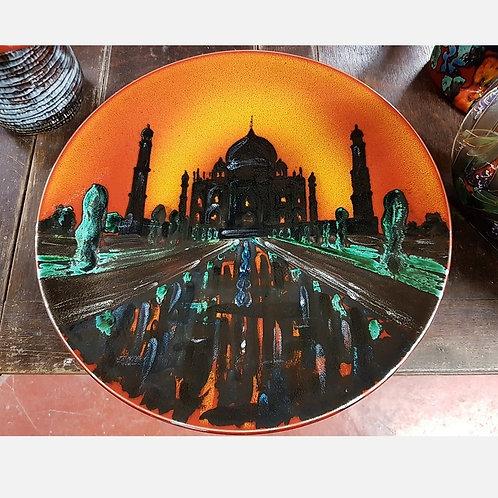 Taj Mahal handpainted 42cm charger each one unique