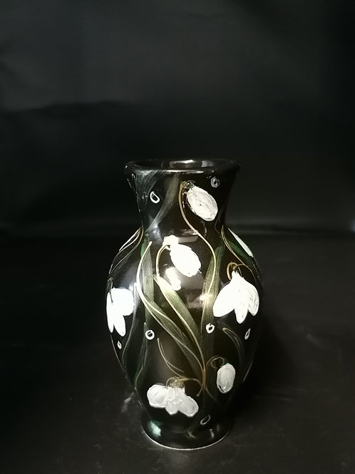 13cm handpainted snowdrop vase on a high gloss black background with lustre