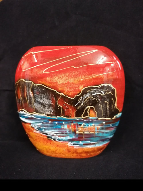 Made to order stunning Durdle Door sunset handpainted 12cm purse vase