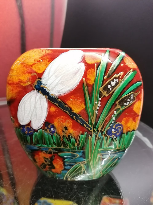 12cm purse vase vibrant art with dragonfly reeds and Iris