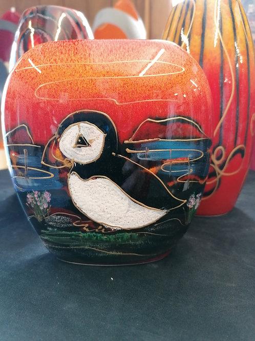 10cm Puffin Island vase handpainted